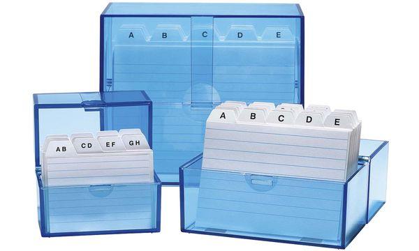 WEDO Karteikasten A6 quer, blau-transparent, bestückt