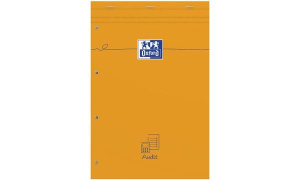 Oxford Bloc Audit agrafé perforé, 210 x 315 mm, 80 feuilles