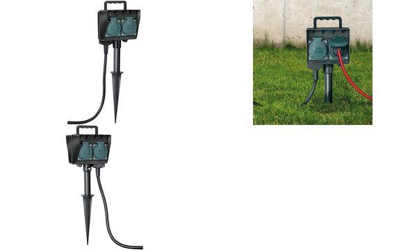 brennenstuhl Gartensteckdose mit Erdspieß, 2-fach