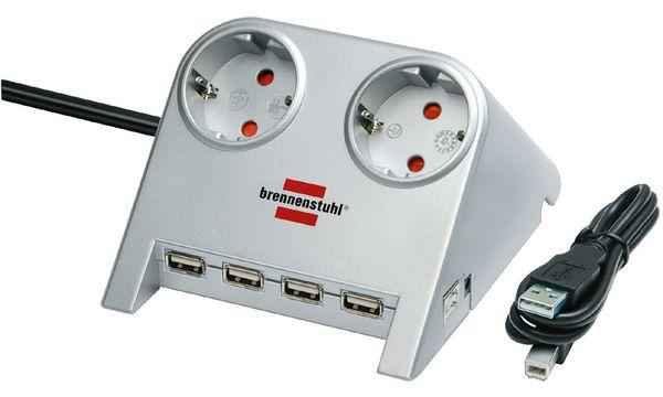 brennenstuhl Tischsteckdose Desktop-Power, 2-fach, 4 x...