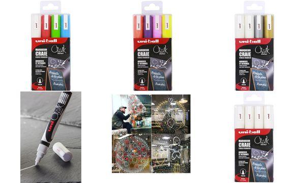 uni-ball Kreidemarker Chalk PWE-5M, 4er-Etui,farbig sort...