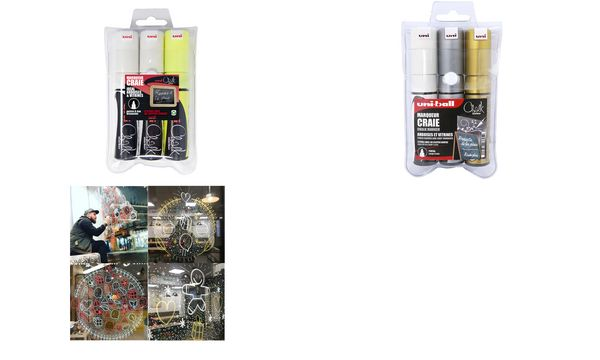 uni-ball Kreidemarker Chalk PWE-8K, 3er-Etui,farbig sort...