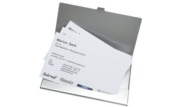 Alassio Visitenkartenetui, aus Aluminium, matt silber