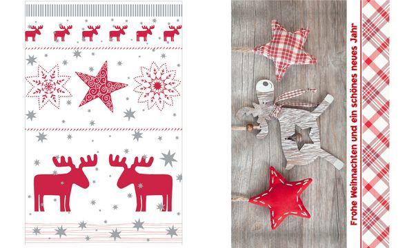 SUSY CARD Weihnachtskarte Nordic Elch und Sterne