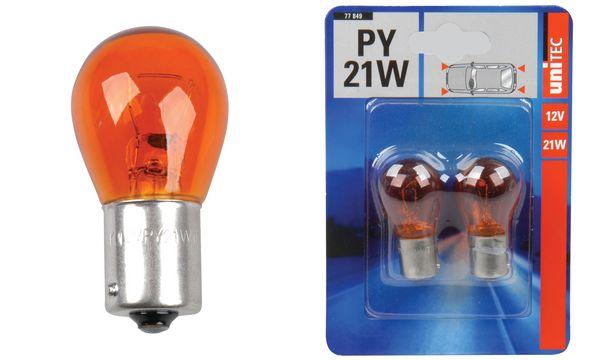 uniTEC Kugellampe, 12 Volt, 21 Watt, gelb, Inhalt: 2 Stück