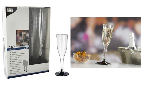 STARPAK Kunststoff-Sektglas, 0,1 l, glasklar/schwarz, 20er