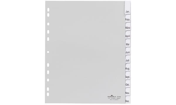 #20xDURABLE Kunststoff-Register, A4, PP, 12-teilig, grau