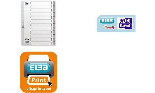 ELBA Intercalaires mensuels en PP, 12 positions, gris