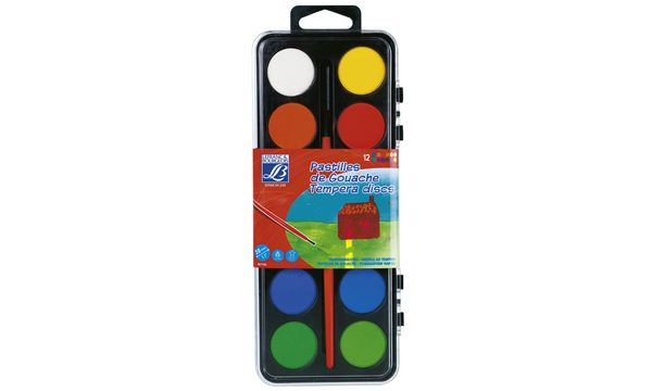 LEFRANC & BOURGEOIS Deckfarbkasten, 12 Farben inkl. Pinsel