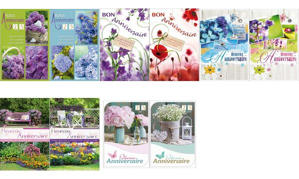 #2xWEIGERT Cartes de voeux, Anniversaire, Jolies Fleurs