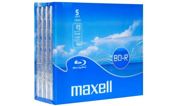 #5xmaxell Blu-Ray BD-R 130 Minuten, 25 GB, 4x, Jewel Case