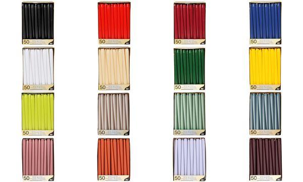 PAPSTAR Leuchterkerzen, 22 mm, bordeaux, 50er Pack