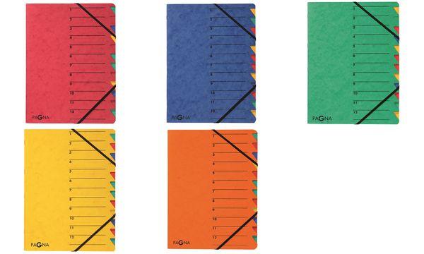 PAGNA Ordnungsmappe EASY, DIN A4, Karton, 12 Fächer, gelb