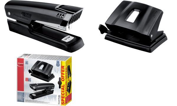 Maped Heftgerät- & Locher-Set Essentials, schwarz