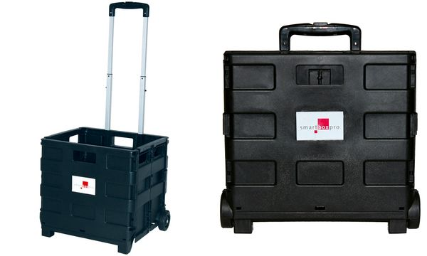 smartboxpro Klapp-Transportkarre mit Klappbox, schwarz