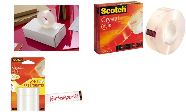 Scotch Klebefilm Crystal Clear 600, 19 mm x 10 m, Karton