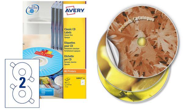 AVERY Étiquettes CD Classique, diamètre: 117 mm, blanc