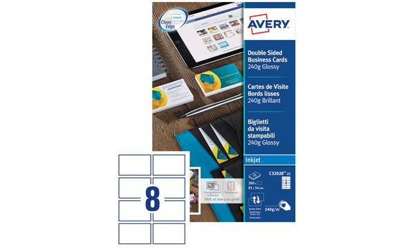 AVERY Cartes de visite Quick&Clean, 240 g/m2, blanc bril...