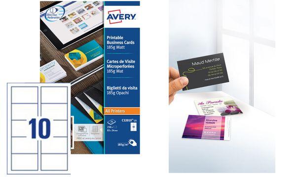 AVERY Cartes de visite Quick&Clean, 185 g/m2, blanc mat