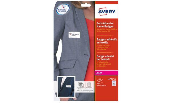AVERY Badges adhésifs, 80 x 50 mm, blanc