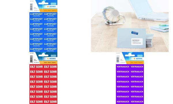 HERMA Textetiketten MIT LUFTPOST, 12 x 40 mm, blau / weiß