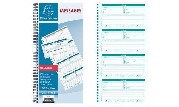 EXACOMPTA Carnet de messages téléphone, spiralé