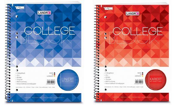 LANDRÉ Collegeblock College DIN A5, kariert, 80 Blatt