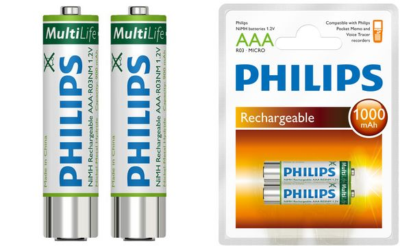 PHILIPS NiMH Akku Micro (AAA) 1000 mAh, für Pocket Memos