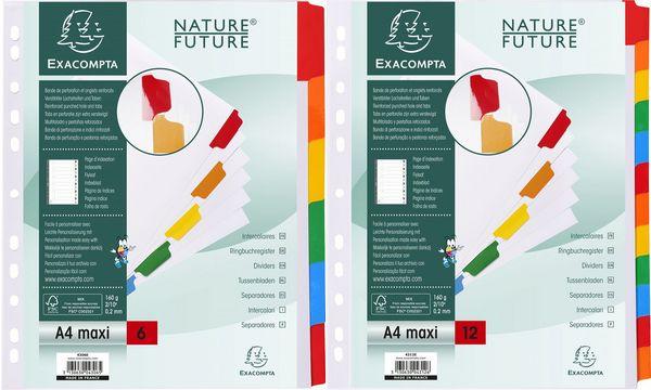 #20xEXACOMPTA Karton-Register, DIN A4 Überbreite, 6-teilig