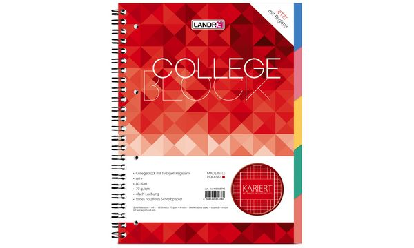 LANDRÉ Register-Collegeblock COLLEGE, DIN A4, kariert