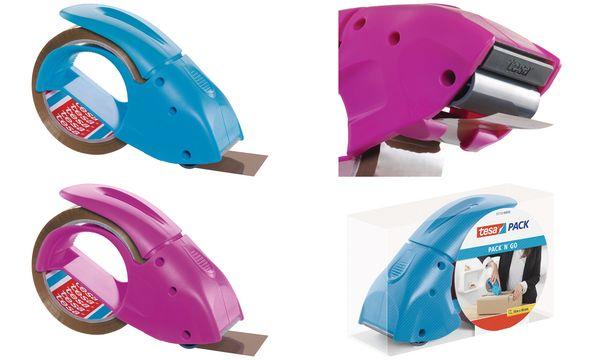 tesapack Handabroller pack n go, pink, bestückt