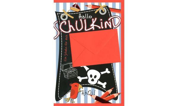 HORN Schulanfangs-Grußkarte - Piratenflagge - inkl. Umsc...