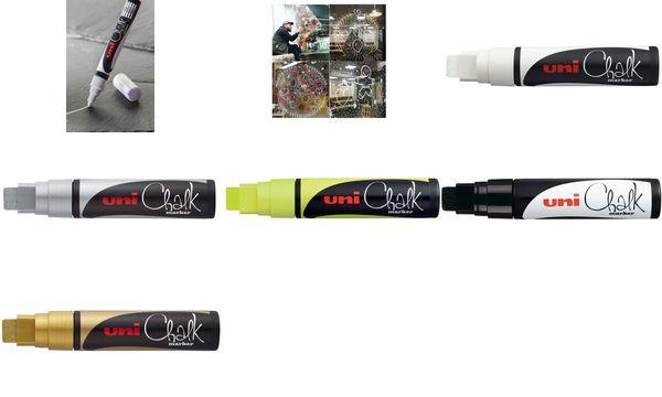 uni-ball Kreidemarker Chalk PWE-17K, silber, Keilspitze