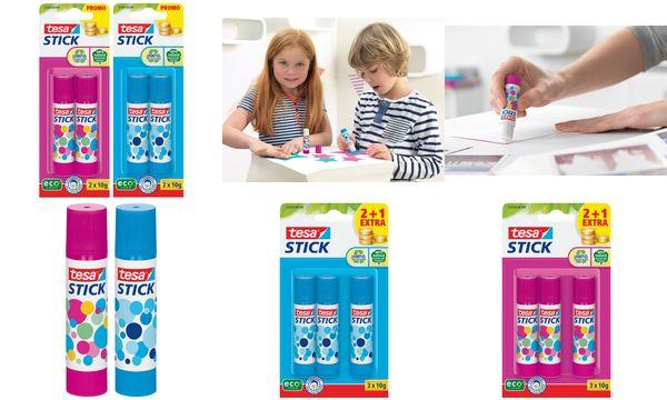 tesa ecoLogo Stick Klebestift, 2 x 10 g, farbig sortiert