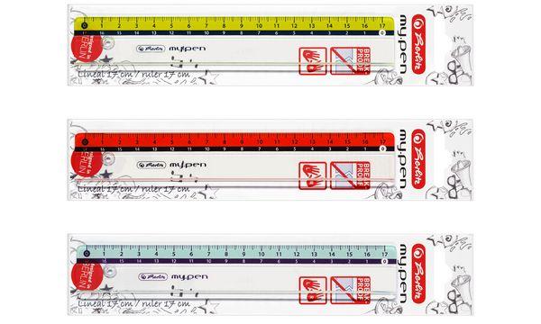 herlitz Flachlineal my.pen, 170 mm lang, Kunststoff