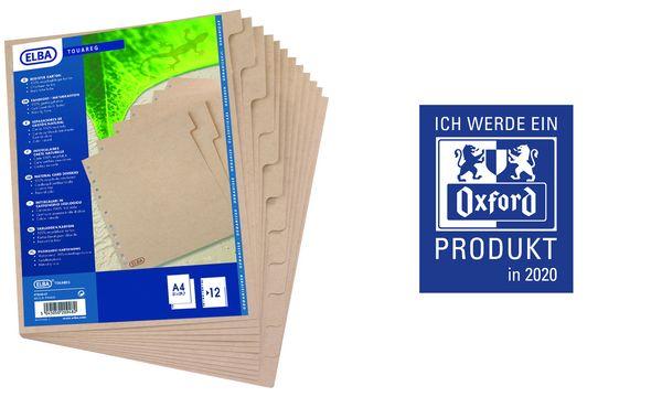 Oxford Karton-Register TOUAREG, blanko, DIN A4, 12-teilig