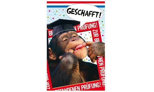 SUSY CARD Glückwunschkarte - Prüfung Affe