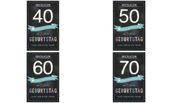 SUSY CARD Geburtstagskarte - 70. Geburtstag schwarz