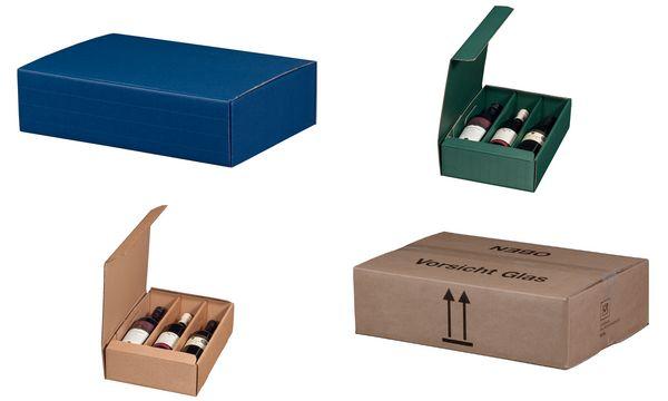 smartboxpro Wein-Präsentkarton, für 3 Flaschen, saphirblau