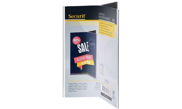 Securit Tischaufsteller ACRYLIC, DIN A5 hoch, dreiseitig