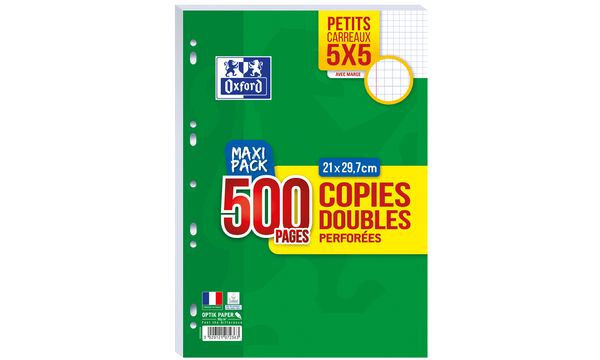 Oxford Copies doubles perforées, A4, quadrillé, MAXI PACK
