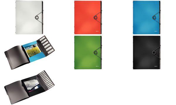 LEITZ Ordnungsmappe Solid, DIN A4, PP, 6 Fächer, schwarz