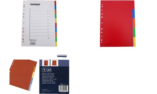 proOFFICE Kunststoff-Register, blanko, A4, 10-teilig
