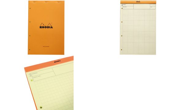 RHODIA Bloc Audit agrafé, 210 x 318 mm, 80 feuilles, orange