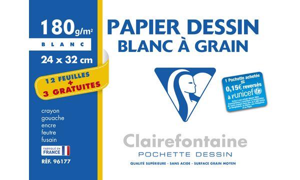 Clairefontaine Zeichenpapier Blanc à Grain, Aktionspack