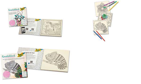 folia Kreativblock zum Ausmalen, 230 x 230 mm, 20 Blatt