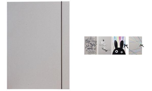 folia Zeichnungsmappe, aus Graupappe, DIN A3, mit Gummiband
