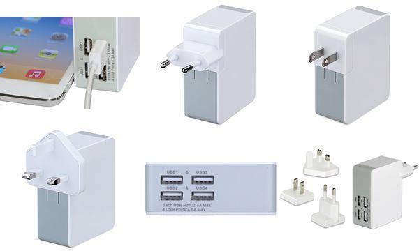 ednet Universal Reise-Adapter-Set (EU/UK/US), 4x USB, weiß