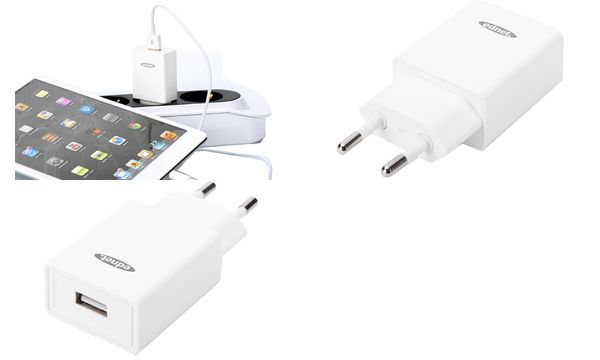 ednet USB-Adapterstecker, 1 x USB-A Kupplung, weiß