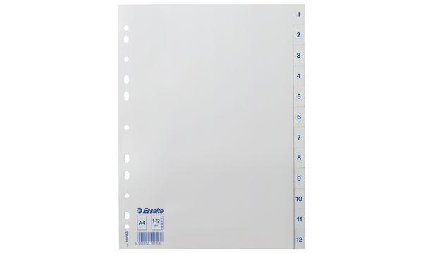 #10xEsselte Kunststoff-Register, Zahlen, A4, 1-12, weiß